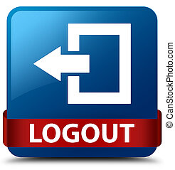 Logout blue square button red ribbon in middle