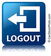 Logout blue square button