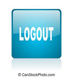 logout blue square web glossy icon