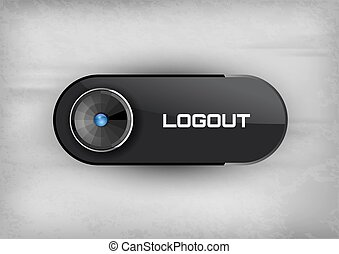 Logout Button - Futuristic buttons LOGOUT with diod. Vector...