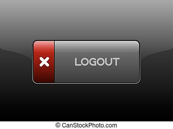 Logout Button - Simple buttons LOGOUT with color space for...