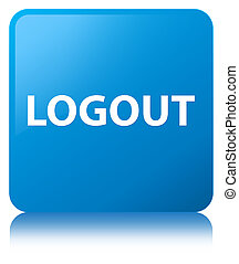 Logout cyan blue square button