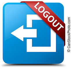 Logout cyan blue square button red ribbon in corner