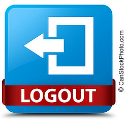 Logout cyan blue square button red ribbon in middle