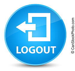 Logout elegant cyan blue round button