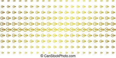 Logout Gold Halftone Matrix - Logout icon golden halftone...