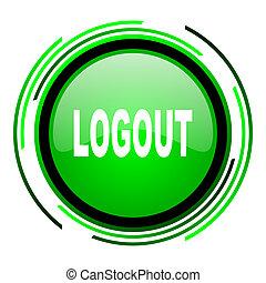 logout green circle glossy icon