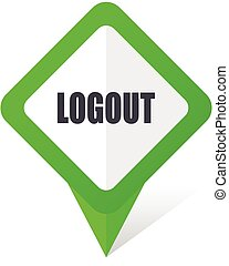 Logout green square pointer vector icon in eps 10 on white background with shadow.