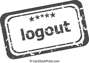 logout grunge rubber stamp isolated on white background
