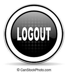 logout icon, black chrome button