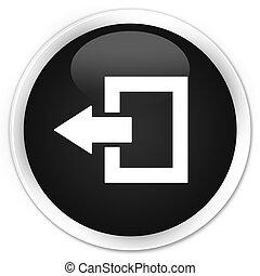 Logout icon black glossy round button