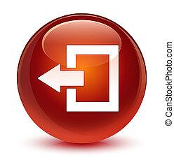 Logout icon glassy brown round button