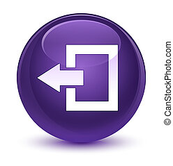 Logout icon glassy purple round button