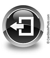 Logout icon glossy black round button