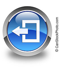 Logout icon glossy blue round button