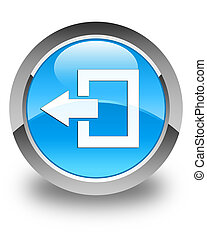 Logout icon glossy cyan blue round button