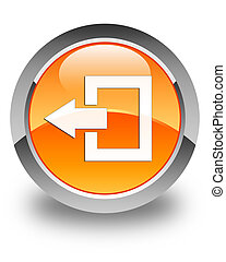 Logout icon glossy orange round button