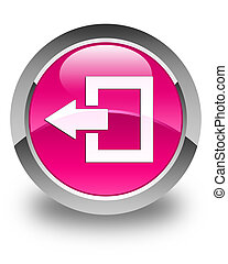 Logout icon glossy pink round button