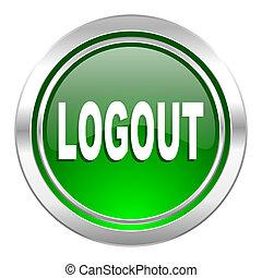 logout icon, green button