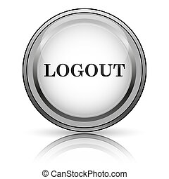 Logout icon. Internet button on white background.