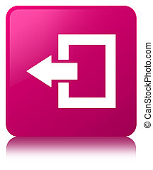 Logout icon pink square button