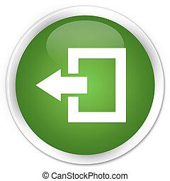 Logout icon premium soft green round button