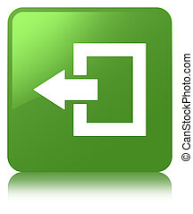 Logout icon soft green square button