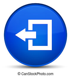 Logout icon special blue round button