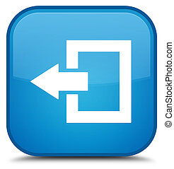 Logout icon special cyan blue square button