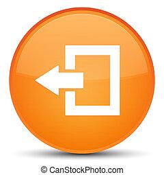 Logout icon special orange round button