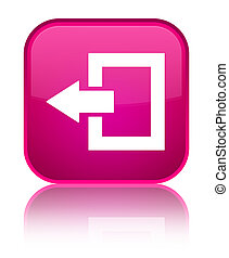 Logout icon special pink square button