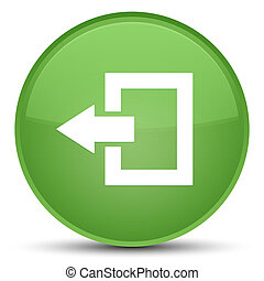 Logout icon special soft green round button