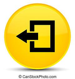 Logout icon special yellow round button