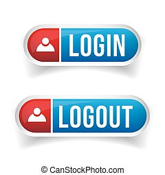 logout, login, vecteur, ensemble, bouton