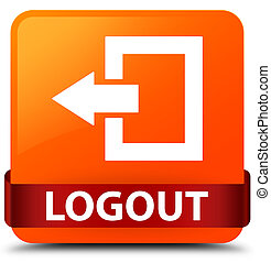 Logout orange square button red ribbon in middle