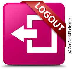 Logout pink square button red ribbon in corner