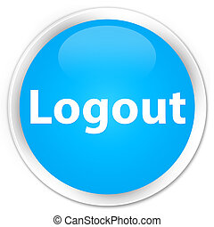 Logout premium cyan blue round button
