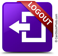 Logout purple square button red ribbon in corner