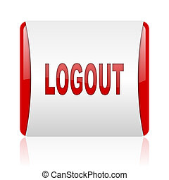 logout red and white square web glossy icon