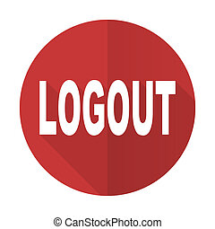 logout red flat icon