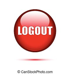Logout red glossy button on white