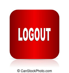 logout red square modern design icon