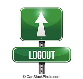 logout road sign illustration design