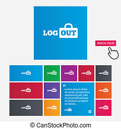 Logout sign icon. Log out symbol. Lock. - Logout sign icon....