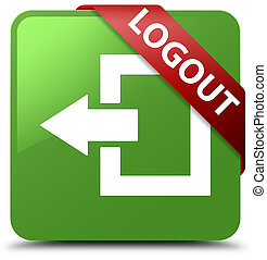 Logout soft green square button red ribbon in corner