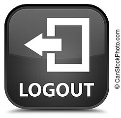Logout special black square button