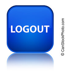 Logout special blue square button