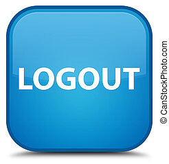 Logout special cyan blue square button