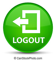 Logout special green round button