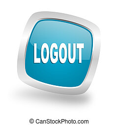 logout square blue glossy chrome silver metallic web icon